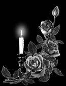 2 свеча с розами